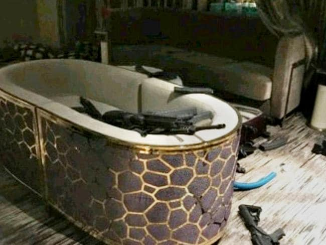 Inside shooter Stephen Paddock's room at Mandalay Bay hotel, Las Vegas. Picture: Supplied