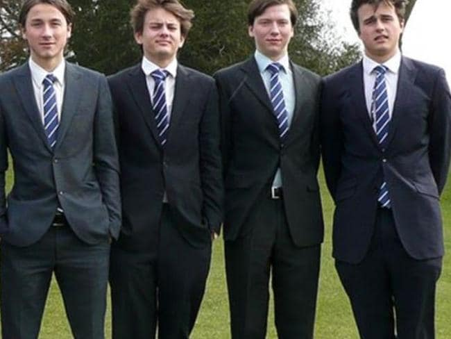 Rory Farquharson (far right) during his days at the Rugby school in England. Picture: Facebook