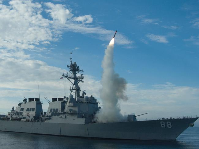 The guided-missile destroyer USS Preble conducts a tomahawk missile launch in a training area off the coast of California (file picture). Picture: AFP / US Navy / Woody Paschall