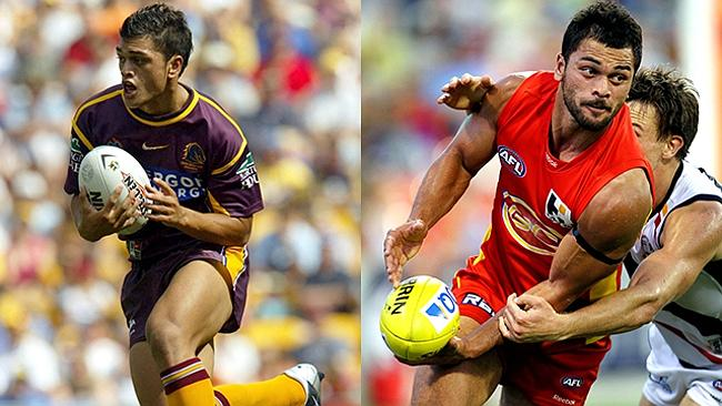 This could be the biggest transformation of the lot. That's a teenage Karmichael Hunt in action for the Brisbane Broncos before joining the Gold Coast Suns. He has put on a stack of upper-body strength, but the thunder thighs are in the genes.