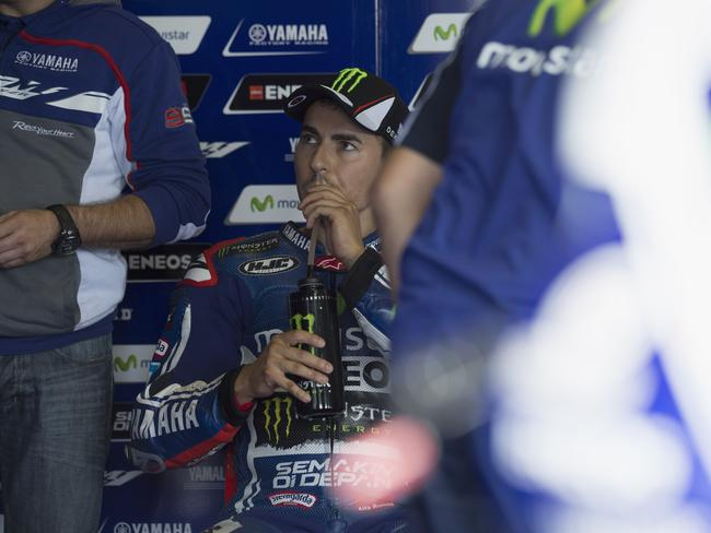Lorenzo in the Yamaha garage.