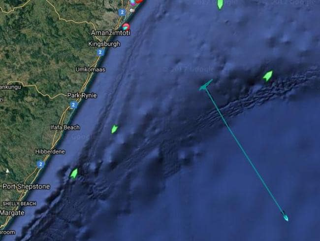 <i>Seabed Constructor </i>tested out its equipment in waters off South Africa on Thursday before resuming its journey to Perth. Its progress is marked by the blue line on the map. Picture: MarineTraffic.com