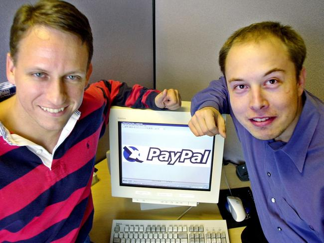 PayPal co-founders Peter Thiel and Elon Musk back in 2000.