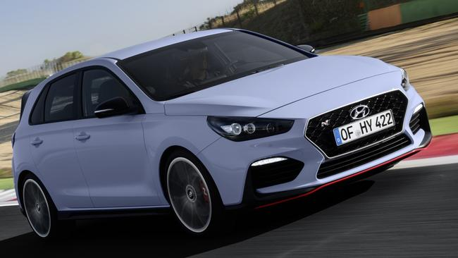 The i30 N put through its paces at a Spanish race circuit. Pic: Supplied.
