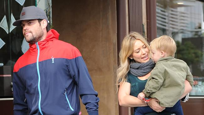 Hilary Duff with Mike Comrie and son Luca Cruz Comrie in 2013.