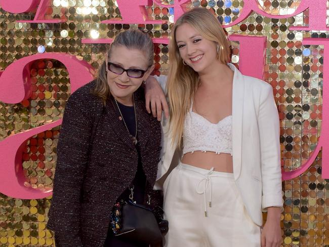 Carrie Fisher attending the world premiere of 'Absolutely Fabulous — The Movie', in London, with her daughter, Billie Catherine Lourd. Picture: Tony Clark / Splash News