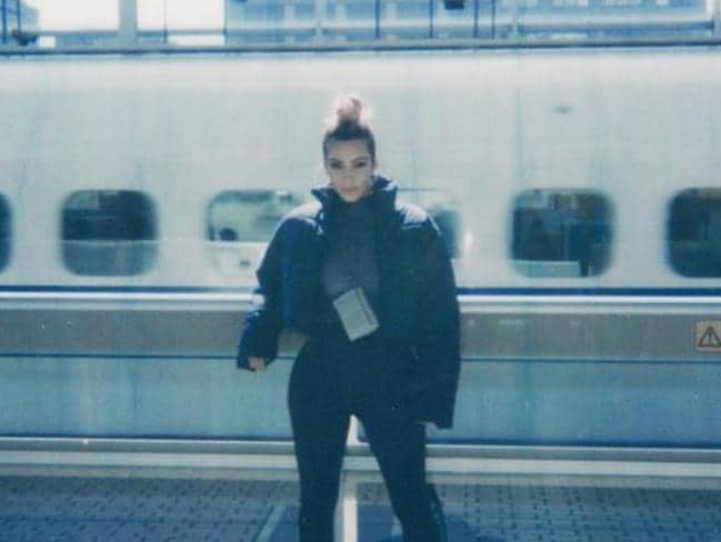 Kim Kardashian at a Kyoto train station. Picture: Kim Kardashian/Instagram