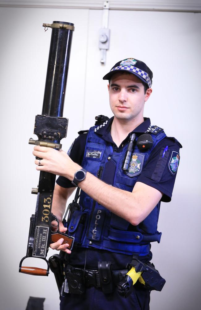 Police have reported some of the quirkiest guns handed in are among the vintage variety, like this one handed in by an elderly Queensland woman. Picture: Pic Jamie Hanson
