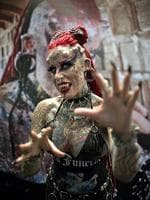 "Mexican Maria Jose Cristerna, known as ""Vampire Woman"", Guinness World Record for being the woman with more changes in her body in America, poses for visitors and photographers, during the ""Expo Tatoo Art Mex"" convention in Mexico City. Picture: AFP PHOTO/RONALDO SCHEMIDT"