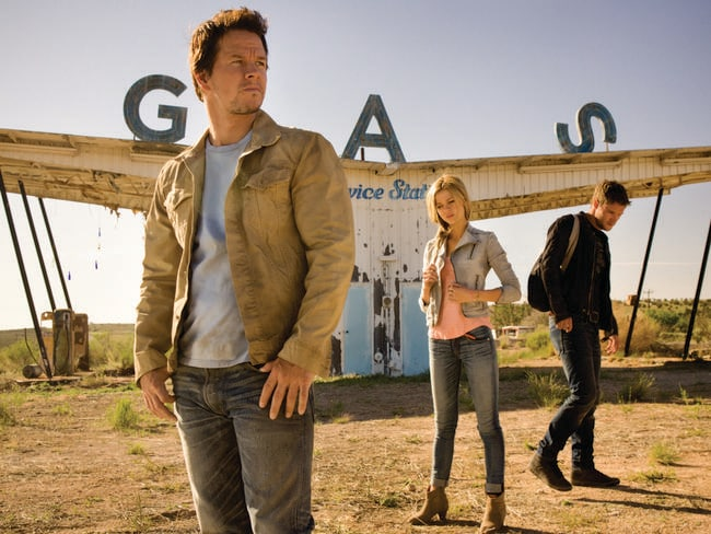 Mark Wahlberg, Nicola Peltz and Jack Reynor on the set of <i> Transformers: Age of Extinction</i>.