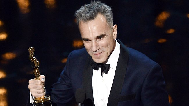 Actor Daniel Day-Lewis accepts the Best Actor award for Lincoln at the 2013 Oscars. Picture: Getty Images