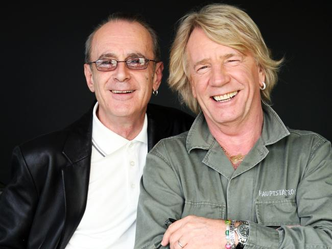 Francis Rossi and Rick Parfitt, pictured in Sydney, were regular visitors to our shores. Picture: Supplied