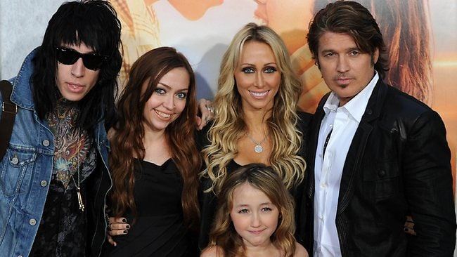 The Cyrus family in simpler times: (from left) Trace, Brandi, Noah and parents Tish and Billy Ray, who are working on their relationship. Picture: Gabriel Bouys