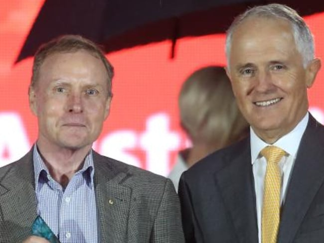 Australian of the Year David Morrison AO with Prime Minister Malcolm Turnbull.