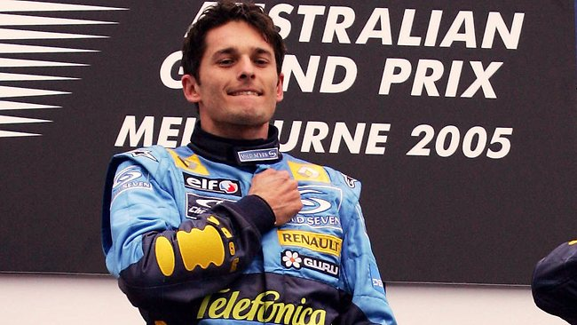 Giancarlo Fisichella celebrates on the podium after winning the 2005 Australian Grand Prix. Picture: Michael Dodge