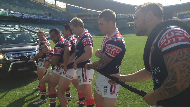 The Sydney Roosters' players enjoyed a tug-of-war challenge at training.