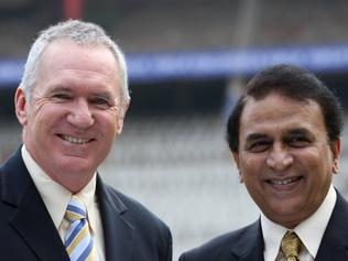 Australian Cricket Tour to India 2008. Allan Border and Sunil Gavaskar with the trophy named in their honour on day one of the first test in Bangalore. Border-Gavaskar Trophy.