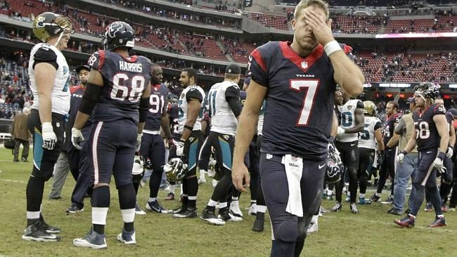 Houston Texans quarterback Case Keenum (7) leaves the field after an NFL football game against the Jacksonville Jaguars.