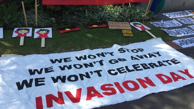 Scenes from an Invasion Day protest in Melbourne, Tuesday, Jan. 26, 2016. Hundreds of people gathered near the steps of Parliament House in Melbourne to protest against Australia Day and rally for Aboriginal sovereignty. Picture: Alex Murray.