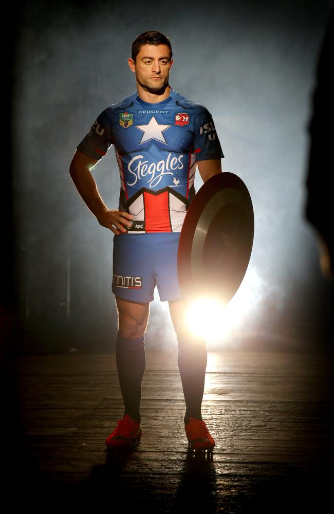 Rooster Anthony Minichiello in his Captain America strip. Picture Gregg Porteous