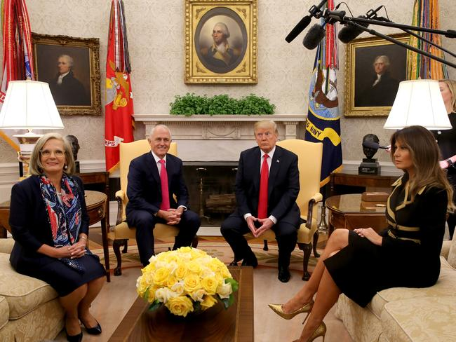 Lucy and Malcolm Turnbull meet with Donald and Melania Trump inside the Oval Office. Picture: Nathan Edwards