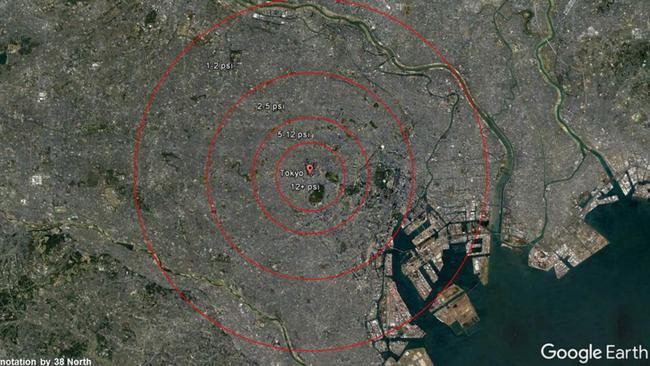 North korea what would nuclear attack on seoul tokyo look like this is the potential blast area if a nuclear bomb hit tokyo picture google maps38 northsourcesupplied sciox Choice Image