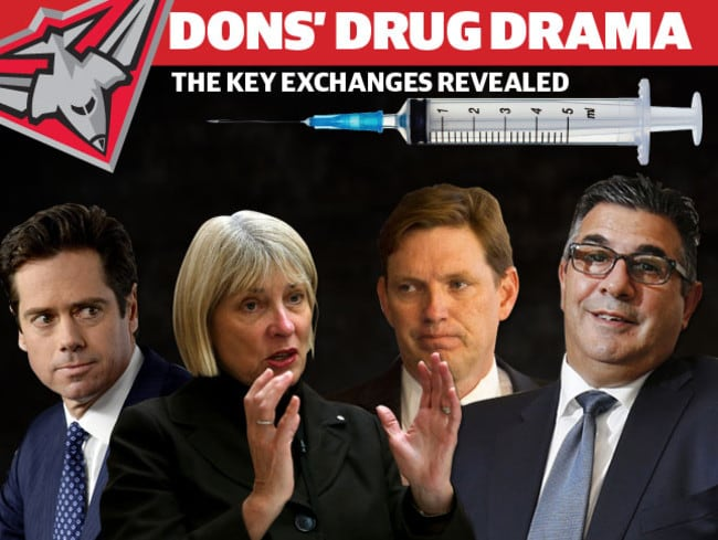 (L-R) Then deputy, now AFL chief Gillon McLachlan, ASADA chief executive Aurora Andruska, Then Essendon FC chairman David Evans and former AFL chief Andrew Demetriou