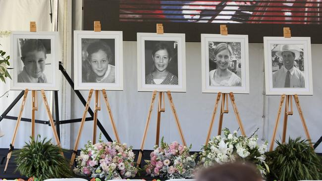 Funeral for the five members of the Hunt family of Wagga Wagga who died in a murder suicide when the father Geoff shot his wife and children and then himself in September 2014.