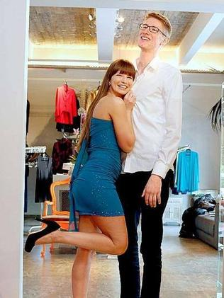 A boy might get used to this ... Bernadette Kaspar, 30, with student Matthias Hesper, 18. Picture: Facebook