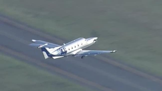 The WA Police plane leaves Brisbane Airport. Image: Nine News