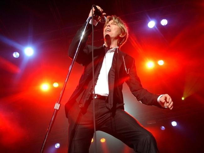 David Bowie performs during a concert in Kristiansand, Norway in 2002. Picture: Heiko Junge/epa/Corbis