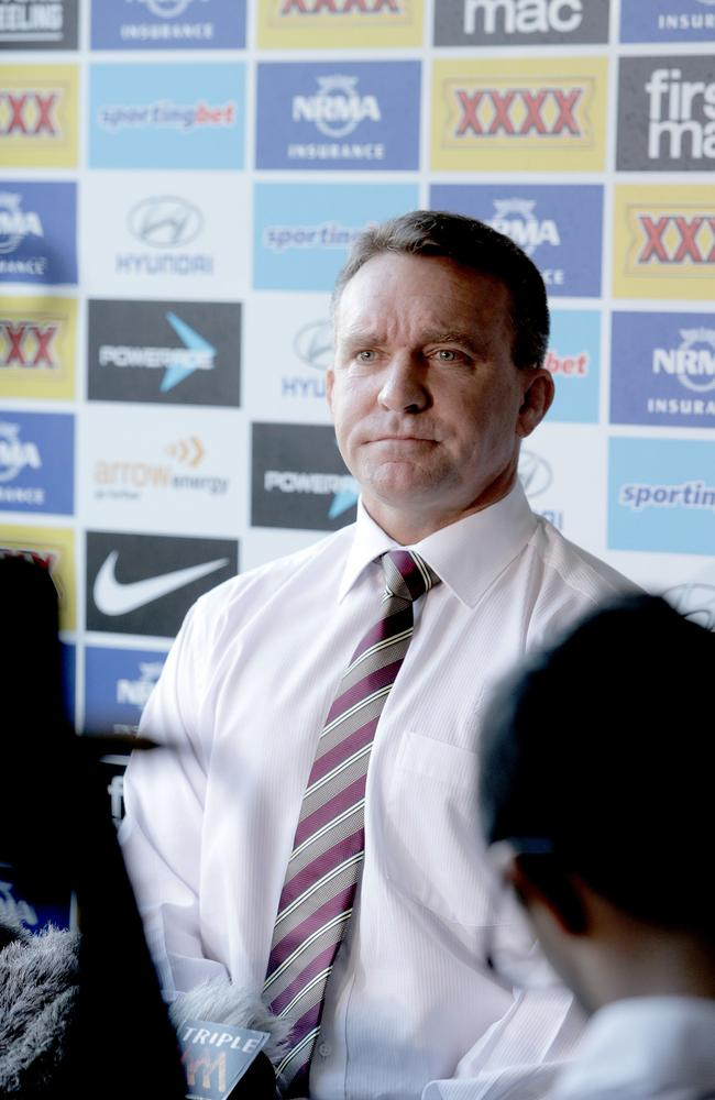 Brisbane Broncos boss Paul White holding a media conference about salary cap investigations.