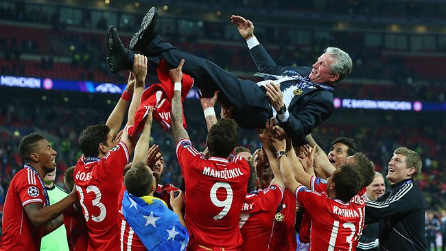 CHAMPIONS LEAGUE final, Bayern Munich 2 d Borussia Dortmund 1 at Wembley. Coach Jupp Heynckes is thrown into the air by his players. Picture: Alex Livesey