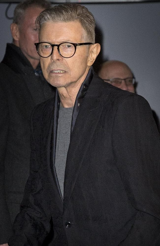 Last public sighting on the 7th December 2015. David Bowie arrives at the Theatre Workshop in New York to attend the premiere of the musical Lazarus. Credit: Price/face to face/australscope