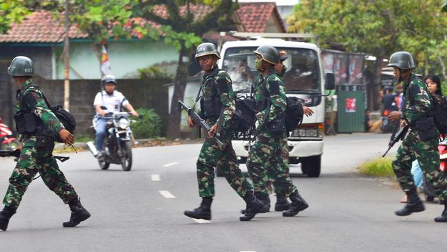 Defence ... Indonesian troops taking part in a drill near Nusa Kambangan prison on March 5. Picture: AFP