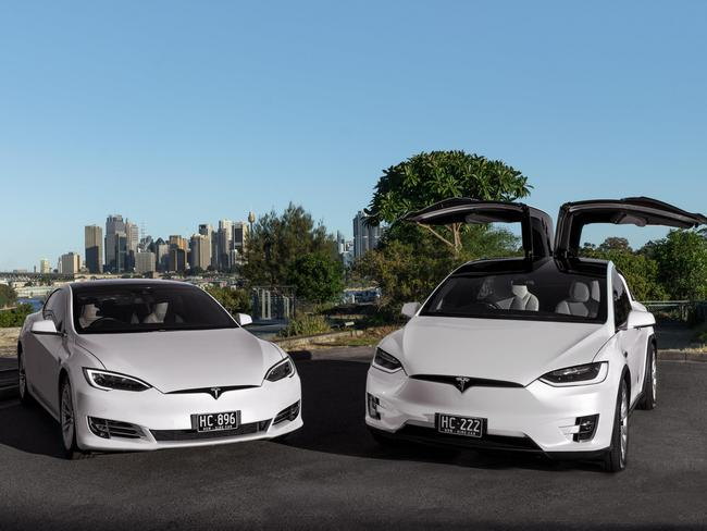 Two of the fleet of eight Tesla limousines that have clocked up more than 1 million kilometres combined. Picture: Supplied.