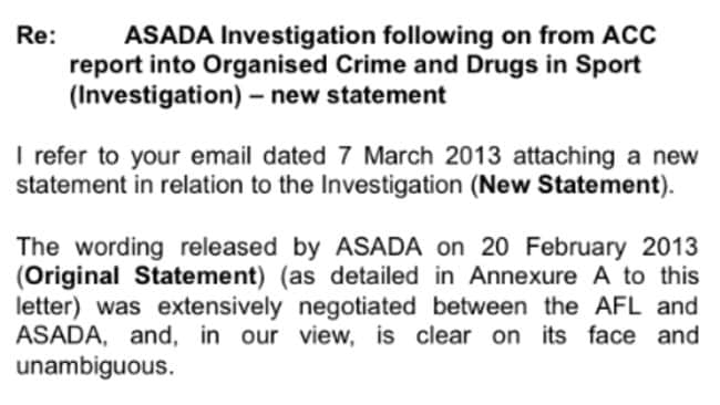Part of the letter front he AFL to ASADA.