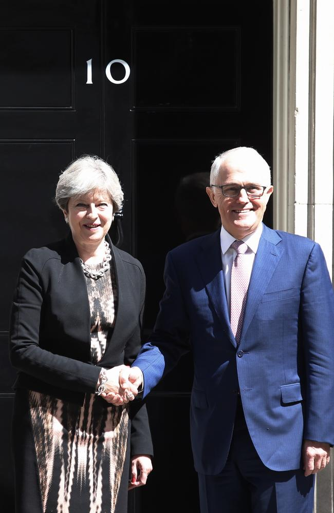 British Prime Minister Theresa May meets Malcolm Turnbull at 10 Downing Street. Picture: Kym Smith