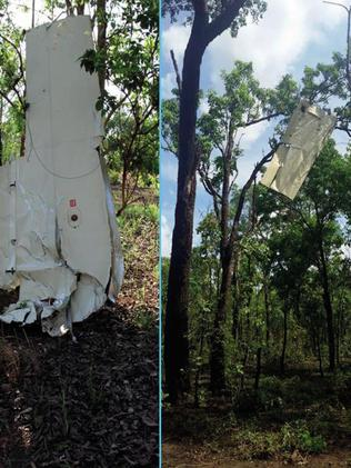 The two wings of the plane were later found hanging from trees. Picture: ATSB