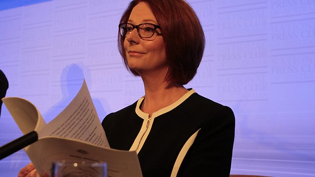 Julia Gillard perepares to deliver her address the National Press Club. Picture: Ray Strange