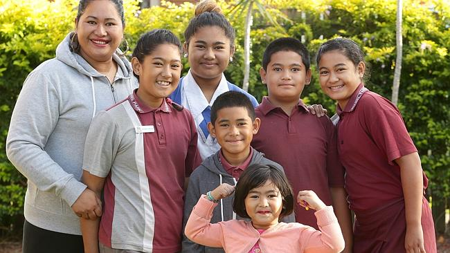 Boxer Alex Leapai's family (from left) wife Theresa, Maria, 12, Cyanne, 13, EJ, 7, Alex Jr, 8, Menimi, 11, and (front) Ivona, 3. Picture: Jono Searle