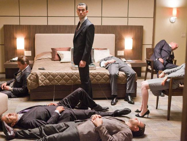 Joseph Gordon-Levitt and all his mates dreaming in Inception.