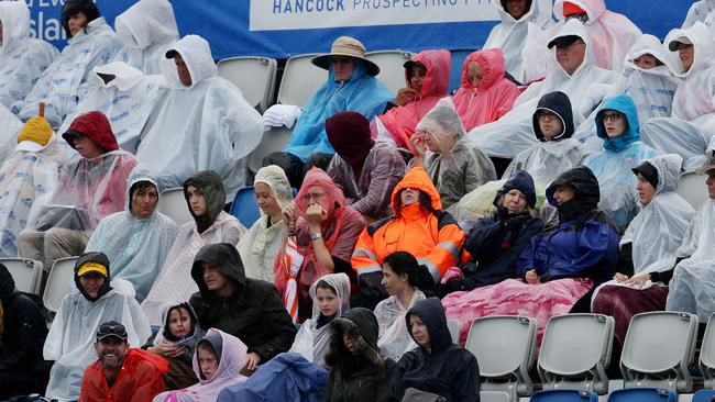 Fans brave the wet and windy conditions at the Pan Pacs. Crowds. Pic Mark Calleja