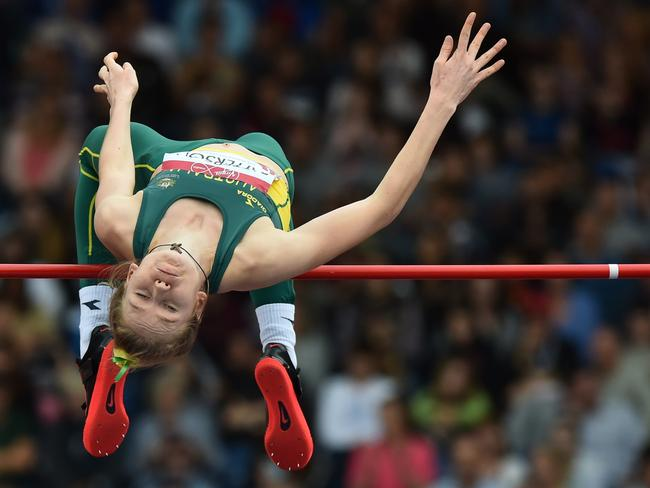 Australia's Eleanor Patterson competes in the qualifying round of the high jump at Hampden Park.