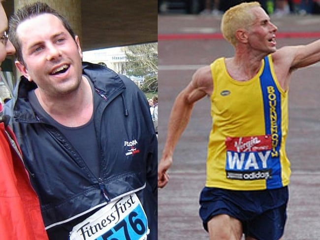 England marathon runner Steve Way before (left) and after his physical transformation.