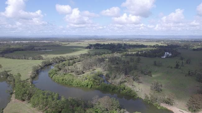 An aerial view of Caboolture River.