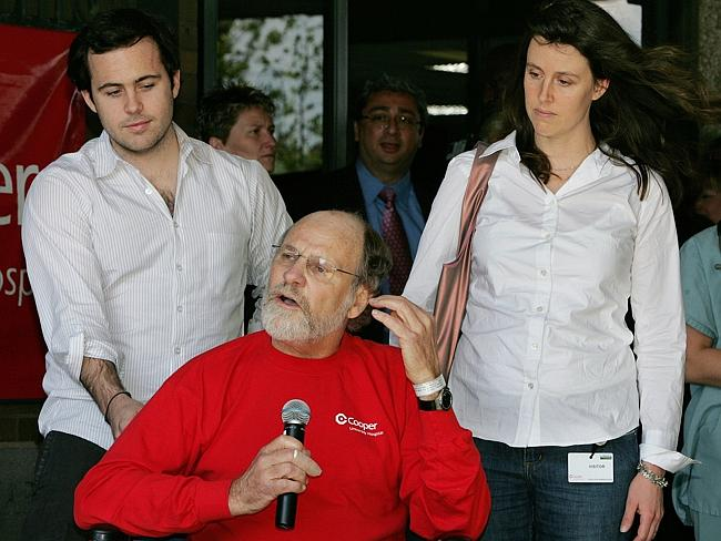 In this April 30, 2007, file photo, son Jeffrey Corzine, left, and daughter Jennifer Corzine-Pisani, with then New Jersey Governor Jon Corzine.
