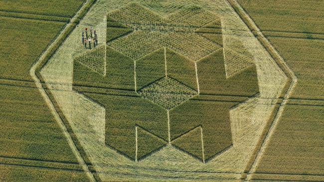 A crop circle once appeared in field of wheat at Clay Hill, Warminster, Wiltshire. The site, made famous by UFO sightings in the 60s and 70s, had crop circle experts baffled over the 200 foot design.