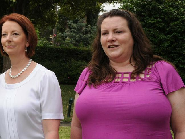 Nicky Davis of advocacy group SNAP, pictured with Julia Gillard, says the claims were 'not surprising' to many survivors.