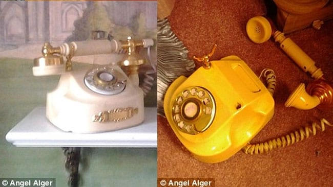 Before and after: The French phone inside the trashed 1963 trailer built as a love nest for Elizabeth Taylor and Richard Burton. Picture: Angel Alger